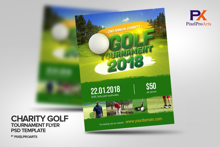 Annual Charity Golf Tournament Flyer Poster Template example image 1