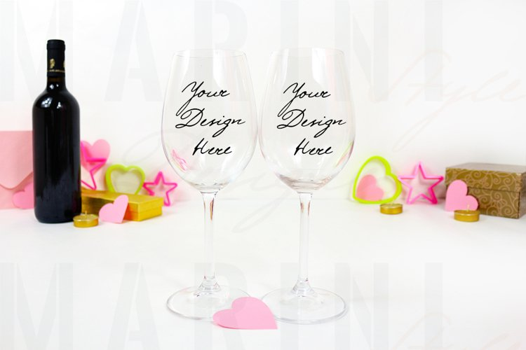 Valentines Wine glass mockup, 2 two Stem wine glasses 1168
