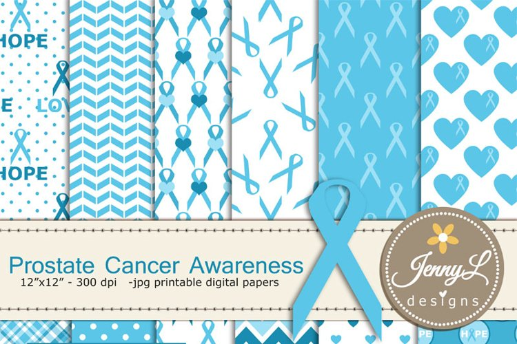 Prostate Cancer Awareness Digital Papers and Clipart, Blue Ribbon Awareness example image 1