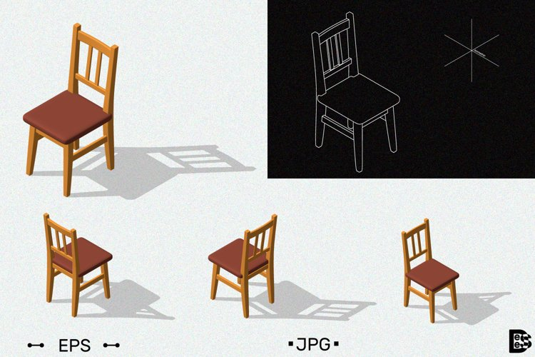 Chair clipart. 3d Vector illustration. example image 1