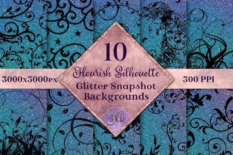 Flourish Silhouette Glitter Snapshot Backgrounds - 10 Images example image 1