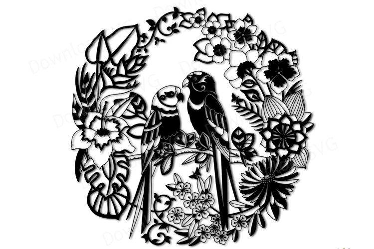 SVG and PNG cutting files, Parrots in Tropical Forest