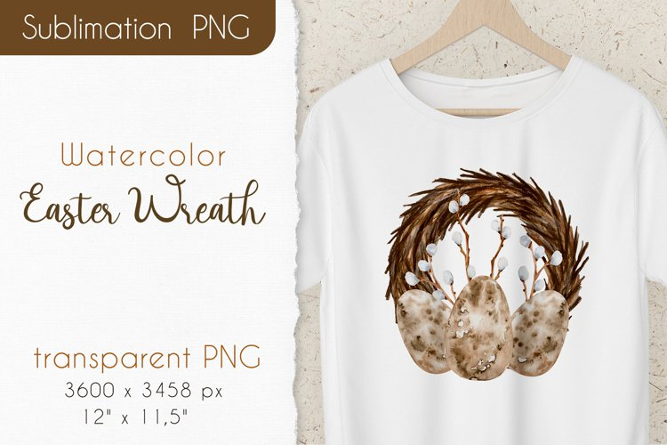 Watercolor Easter Wreath. Spring Sublimation PNG Design example image 1