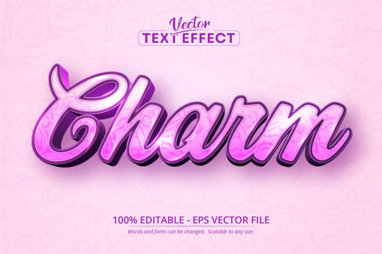 Charm text, calligraphic style editable text effect