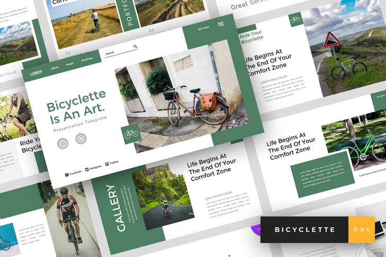 Bicyclette - Bicycle Google Slides Template example image 1