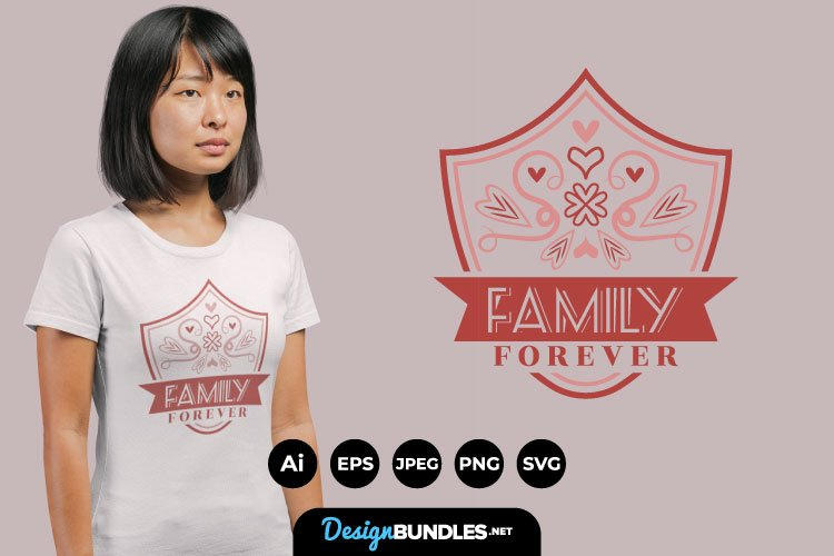 Family Forever Hand Drawn Lettering for T-Shirt Design example image 1