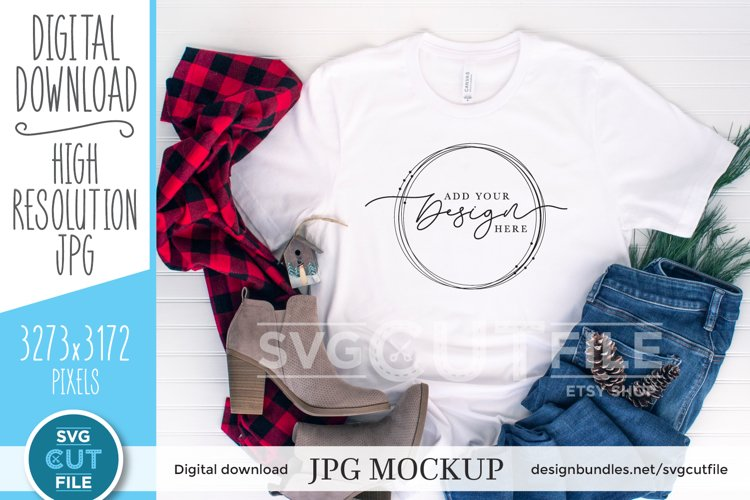 Bella Canvas 3001, white Christmas Shirt, shirt mockup