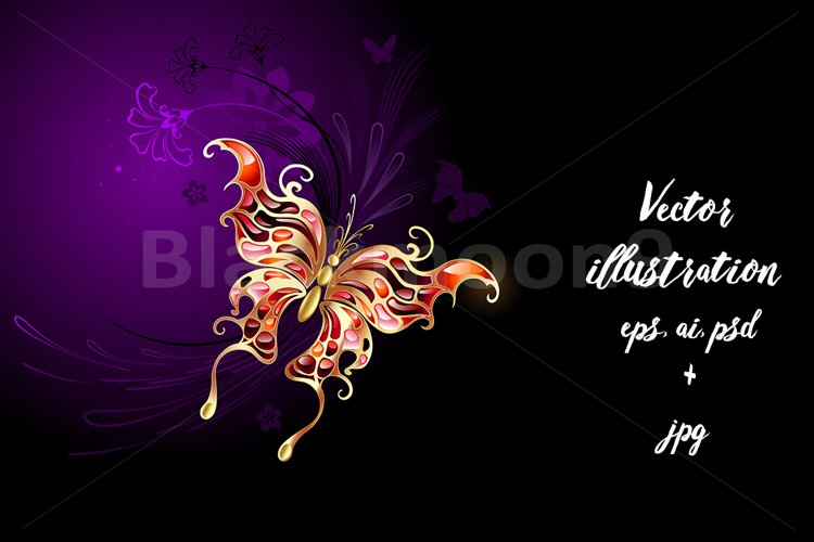 Gold Butterfly on a Purple Background example image 1