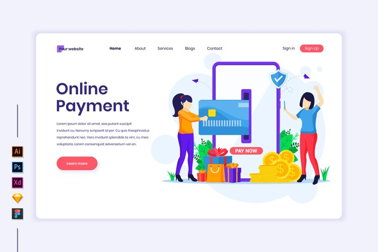 Online Payment concept flat Illustration landing page