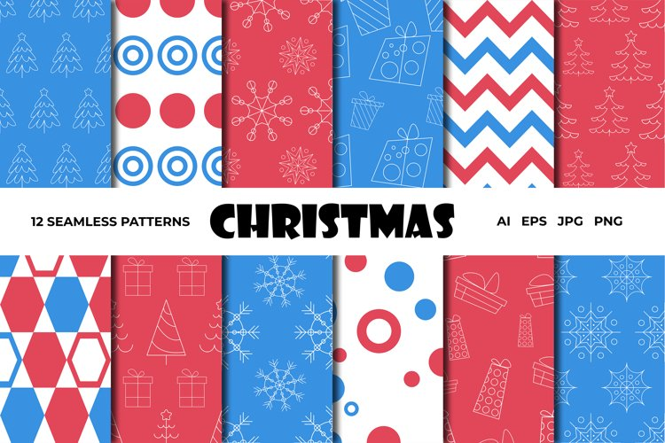 Vector seamless Christmas patterns set/blue and red example image 1