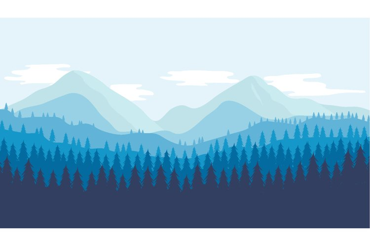 Beautiful view of mountains and forest. Flat design vector example image 1