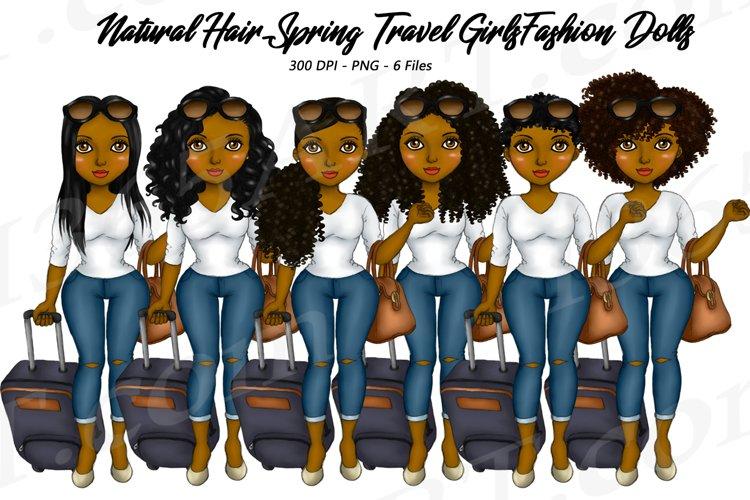 Spring Travel Clipart Girls, Natural Hair, Fashion Dolls