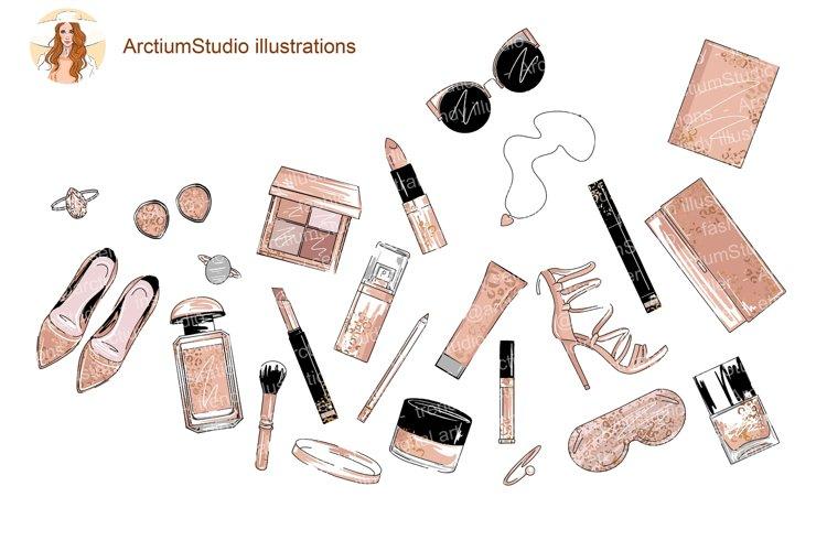 Cosmetics Set Clipart, Make up eps, fashion leopard makeup example image 1