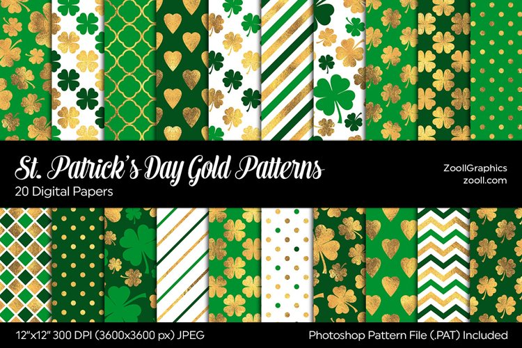St. Patricks Day Gold Digital Papers