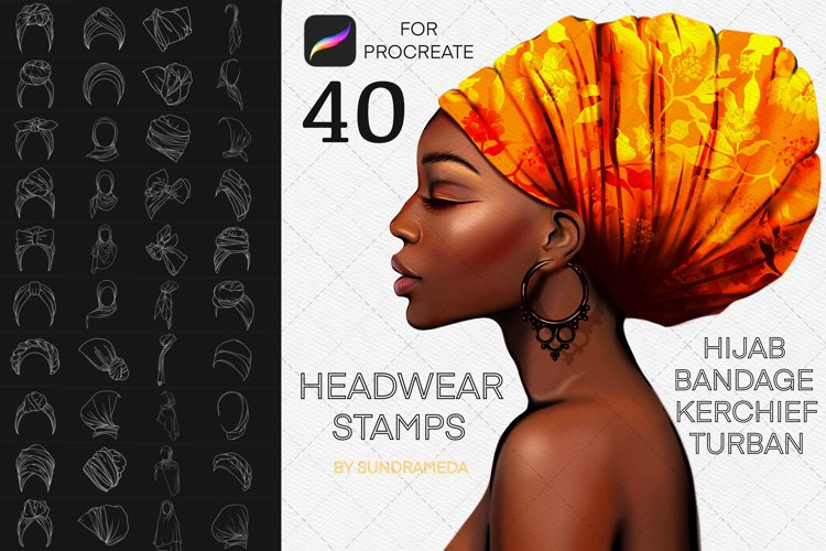 40 Hats Stamps, Headwear brushes, Procreate fashion brushes