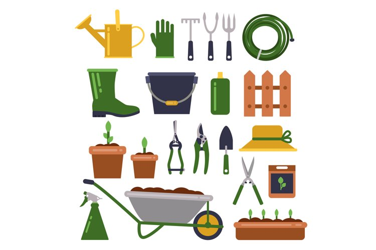 Different work tools for gardening. Vector icons set in flat example image 1