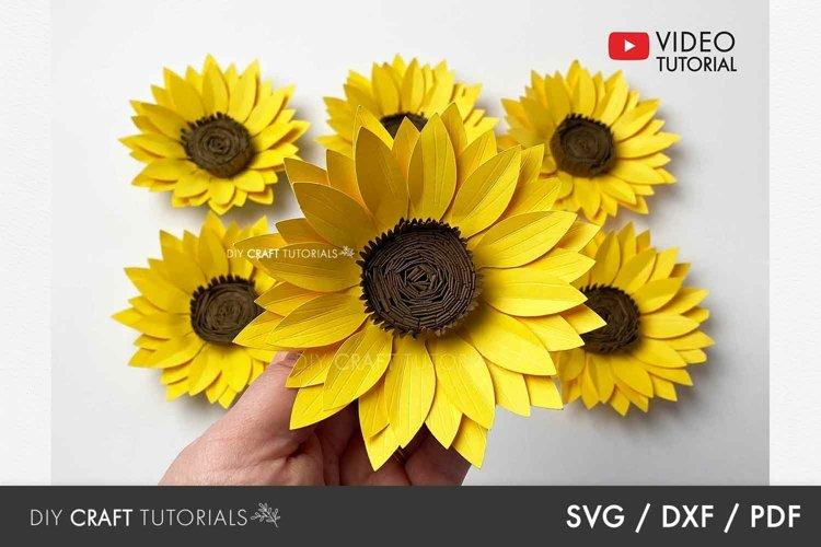 Sunflower SVG, Flower SVG, Paper Flower SVG example image 1
