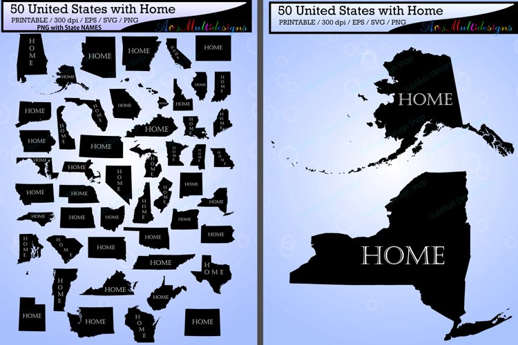 united states map with Home vector 50 / states with capital map /Us map silhouette / SVG / EPS / PNG / High Quality / state names example image 1
