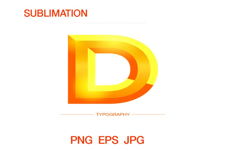 Vector 3D letter bold Sunshine style typography digital example image 1