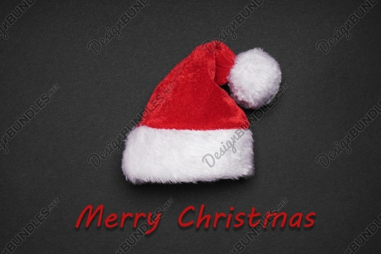 merry christmas greeting card design with santa hat