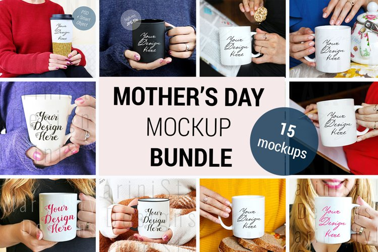 Mothers day Mockup Bundle, Woman holding mug mockup, 1204