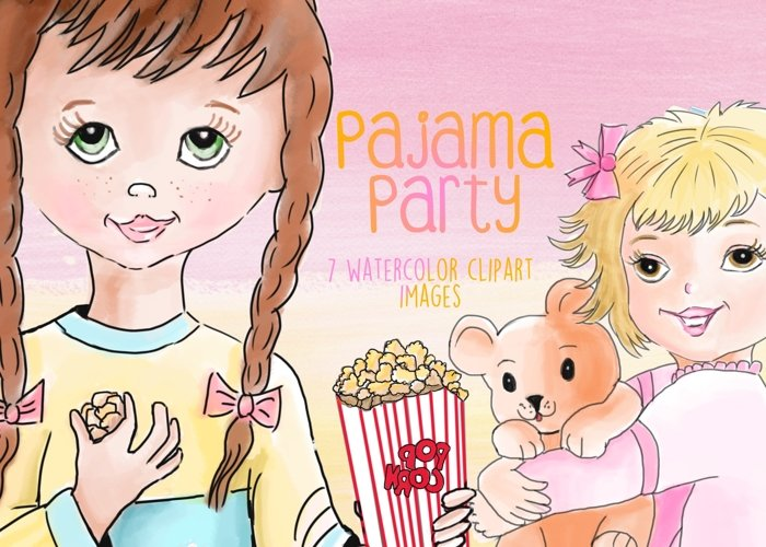 Watercolor Pajama Party Clipart Images by Whimseez