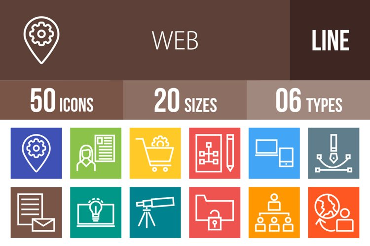 50 Web Line Multicolor B/G Icons example image 1