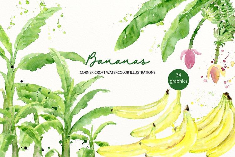 Watercolor Banana Clipart example image 1
