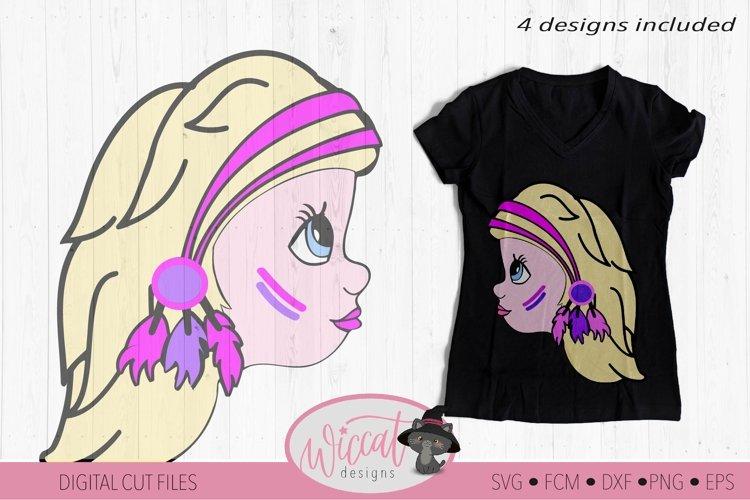Character Girl svg, Boho girl, indian headband svg example image 1