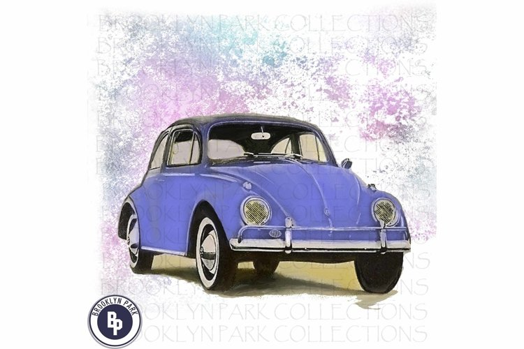 Retro VW Beetle Bug Car, Art Print Sublimation PNG example image 1