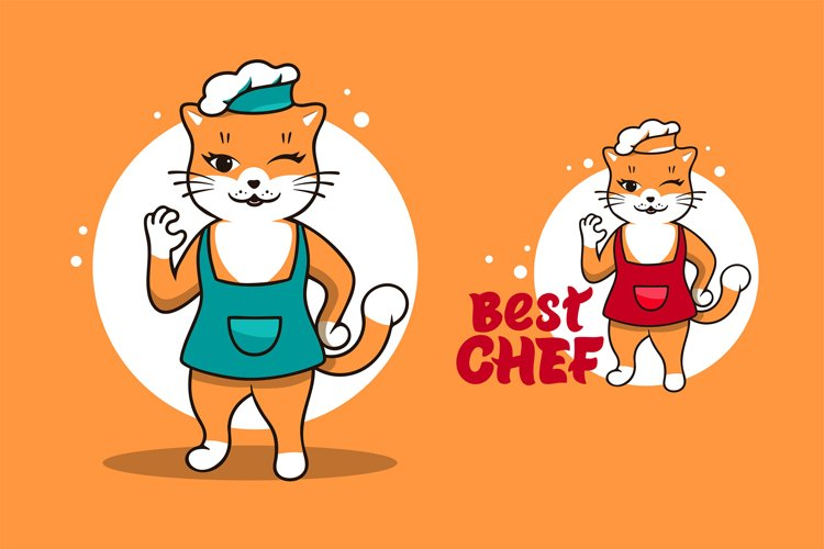 Funny Cat chef, cartoon character example image 1