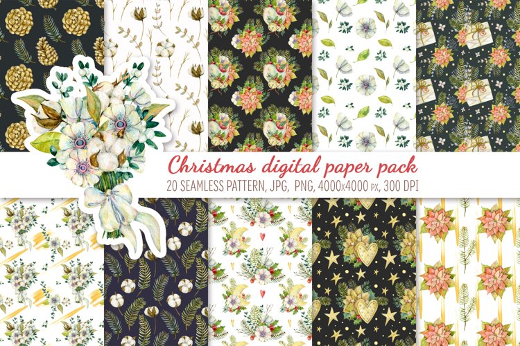 Watercolor Christmas patterns. Digital paper pack example image 1