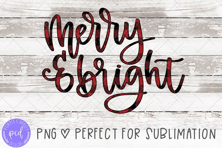 Merry and Bright Hand-Lettered Sublimation File example image 1
