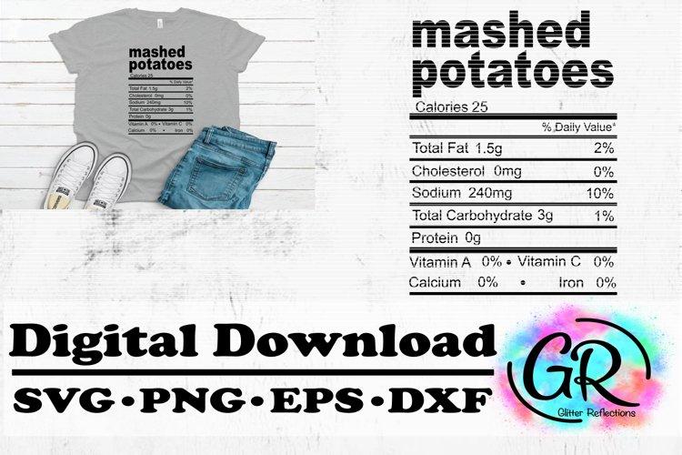 Mashed Potatoes Svg- Nutrition Facts Svg- Shirt Design