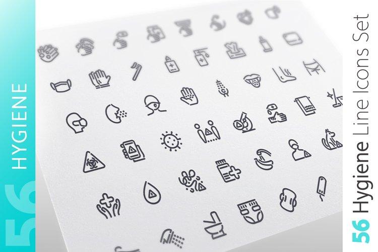 Hygiene Line Icons Set example image 1