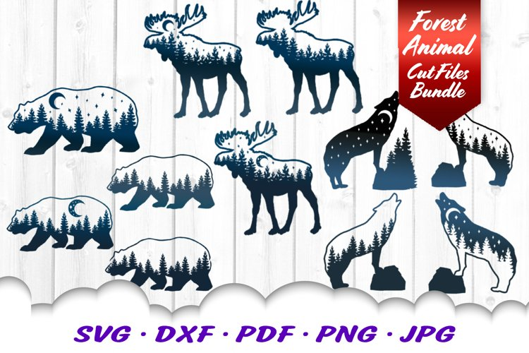 Moose Bear Wolf Forest Moon Animal SVG DXF Cut Files Bundle