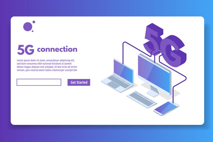 5G connection isometric concept.