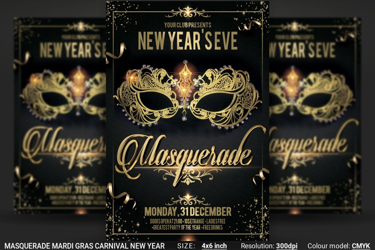 Masquerade Mardi Gras Carnival New Year Flyer example image 1