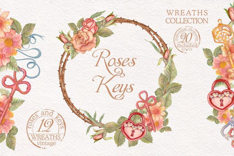 Watercolor wreaths set. Roses & keys example image 1