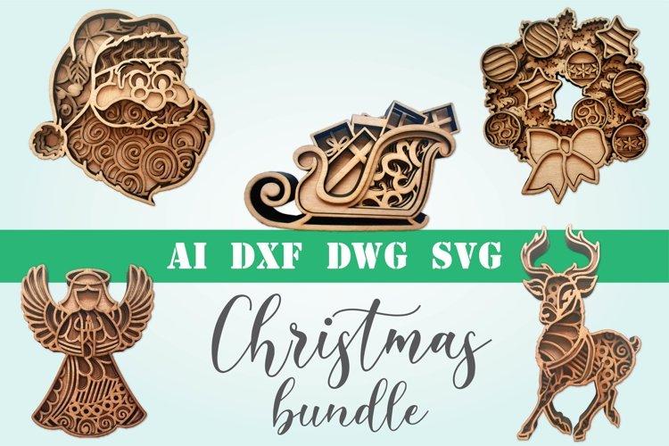 Christmas bundle 5 designs 3d layered mandala zentangle svg example image 1