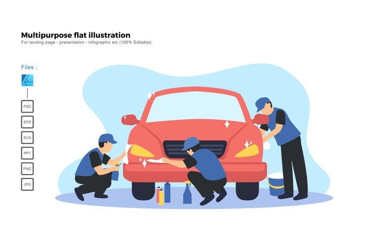 Flat illustration car spa coating service