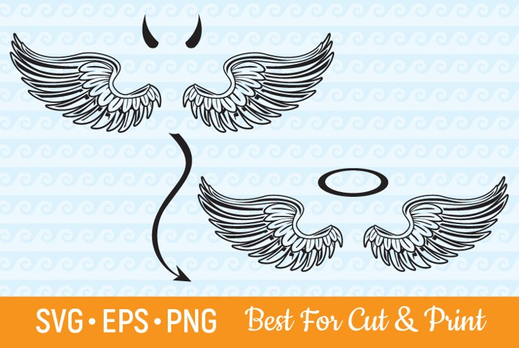 Angel Wings SVG Devil Wings Heaven Flying Feather Halo SVG