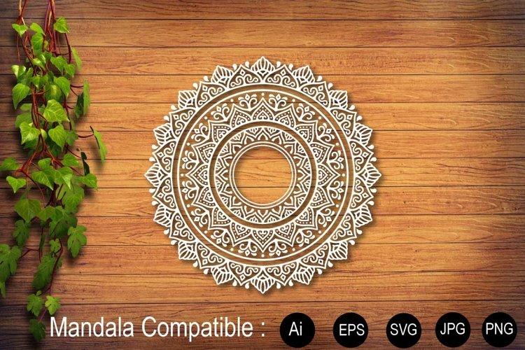 Mandala White Flower Sublimation Design SVG PNG JPG EPS example image 1