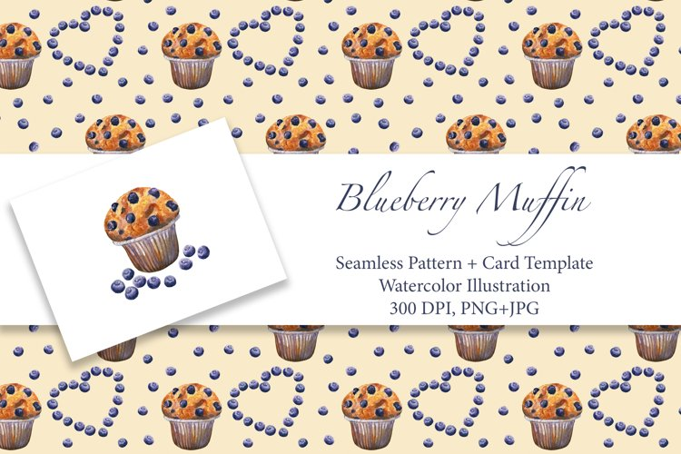 Blueberry Muffin. Watercolor pattern and card, JPG, PNG