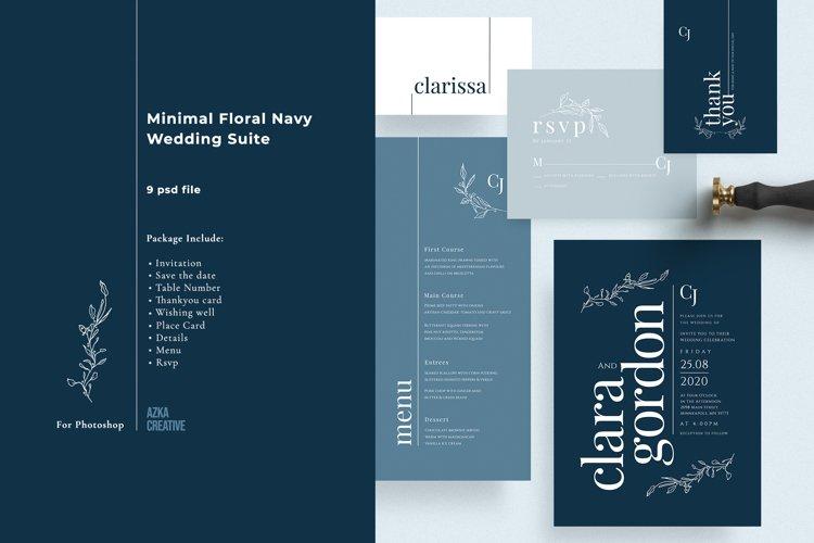 Minimal Floral Navy Wedding Suite