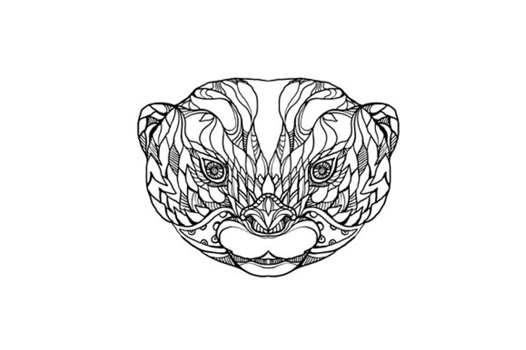 Oriental Small-clawed Otter Doodle Art example image 1