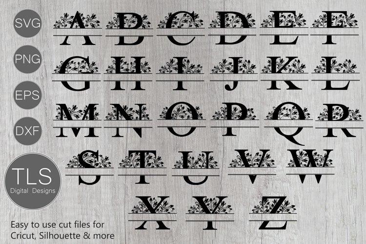 Split Floral Monogram Letters A - Z SVG, Letters A - Z example image 1