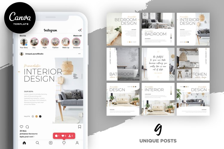 Interior Designer Instagram Posts Template | CANVA example image 1