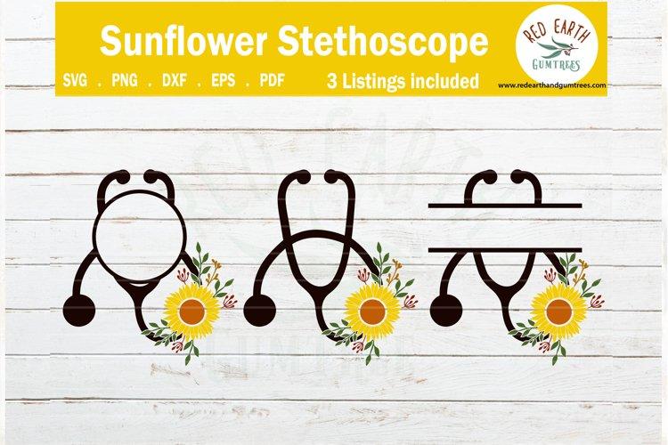 Floral heart stethoscope monogram frames SVG,PNG,EPS,DXF,PDF