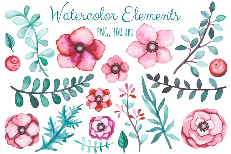 Watercolor Flowers and Birds Set example 1